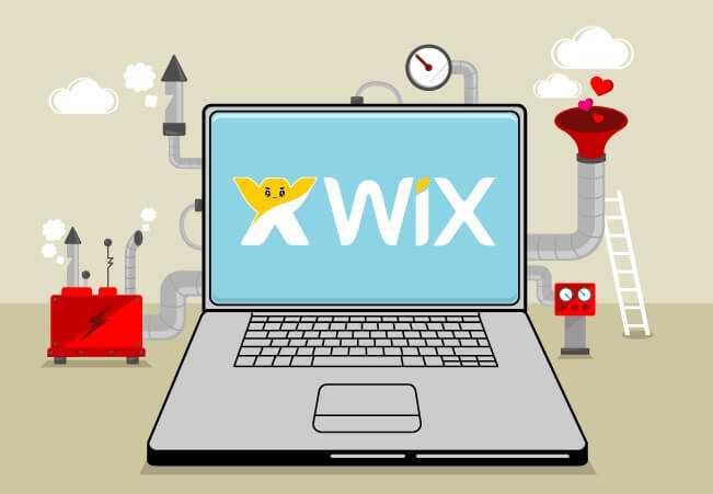 illustration avec un ordinateur portable avec le logo wix sur le bureau