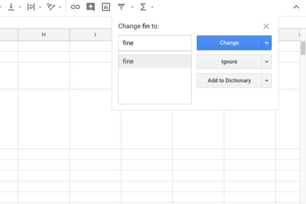 Vérification orthographique Google Sheets